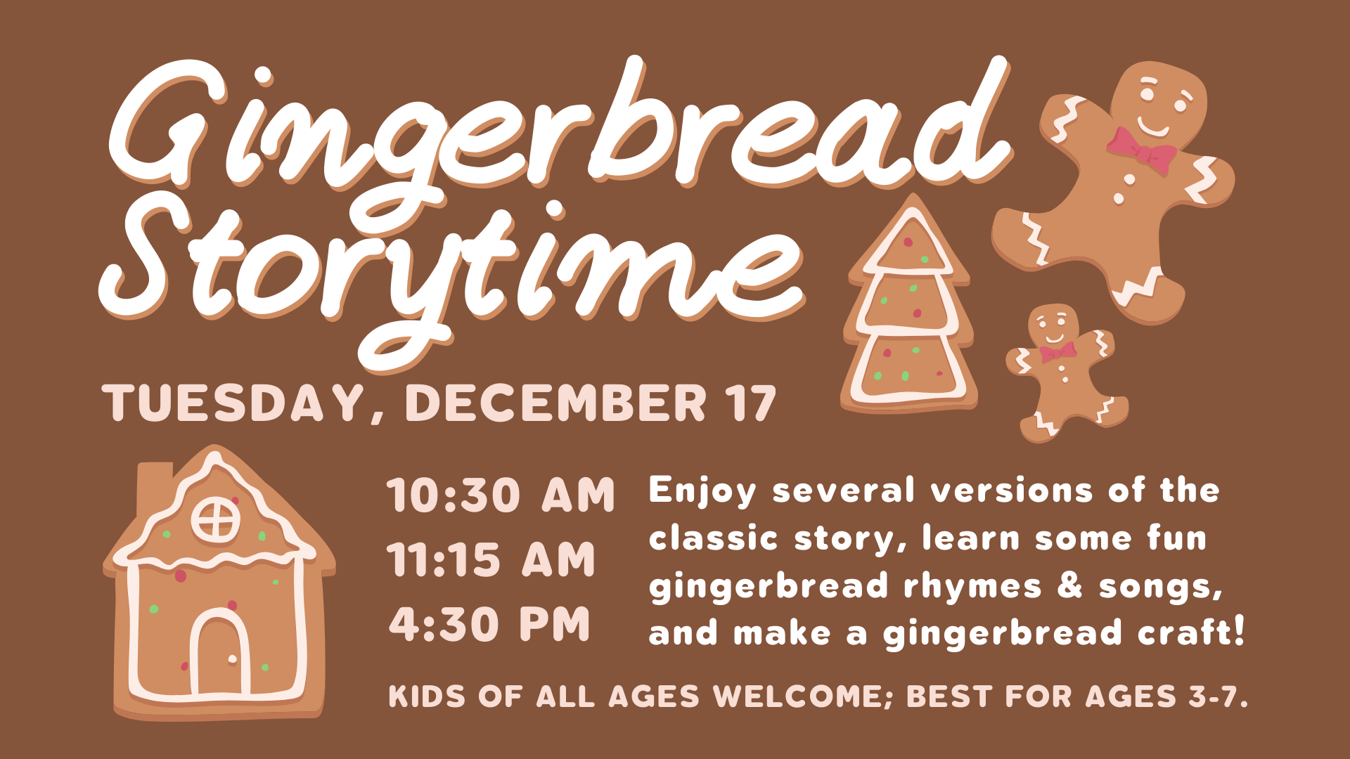 Gingerbread Man Storytime & Craft @ Storytime Room