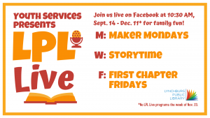 LPL Live: First Chapter Fridays @ https://www.facebook.com/LynchburgPublicLibrary/