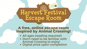 Image features a Harvest Festival Escape Room logo and a repeat of the event information against a cloudy sky background.