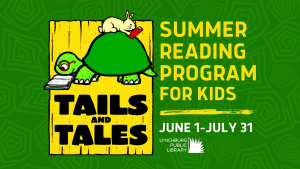 A Promotion for the Summer 2021 Reading program for kids. The Program runs from June first to July thirty-first.