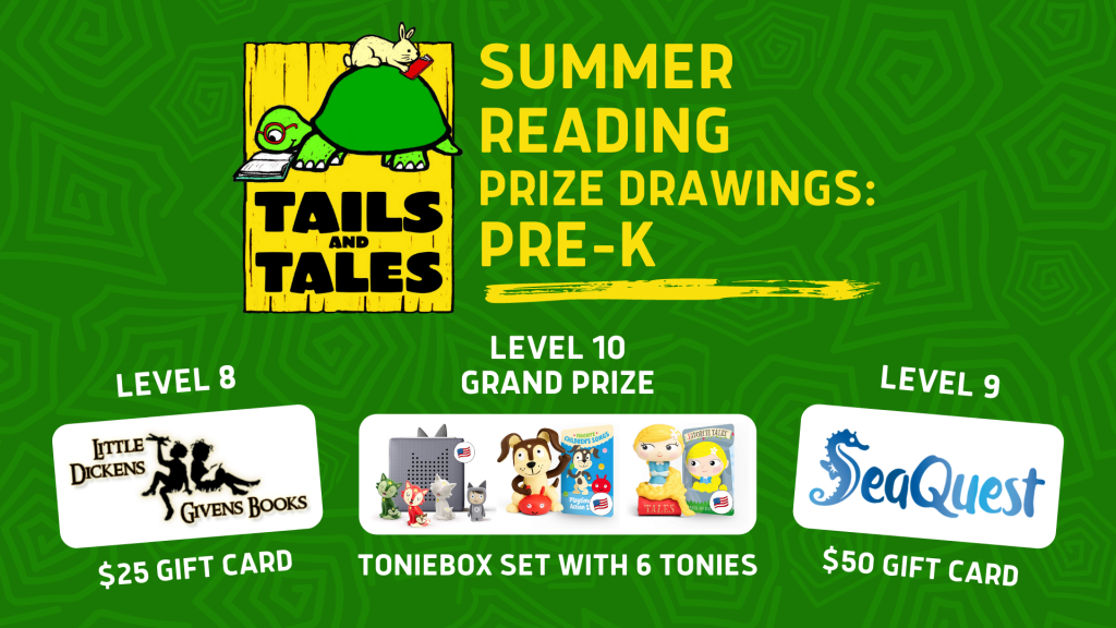 Image lists the Summer Reading Program prize drawing prizes for the Pre-K age group. (The prizes are listed on this page.)