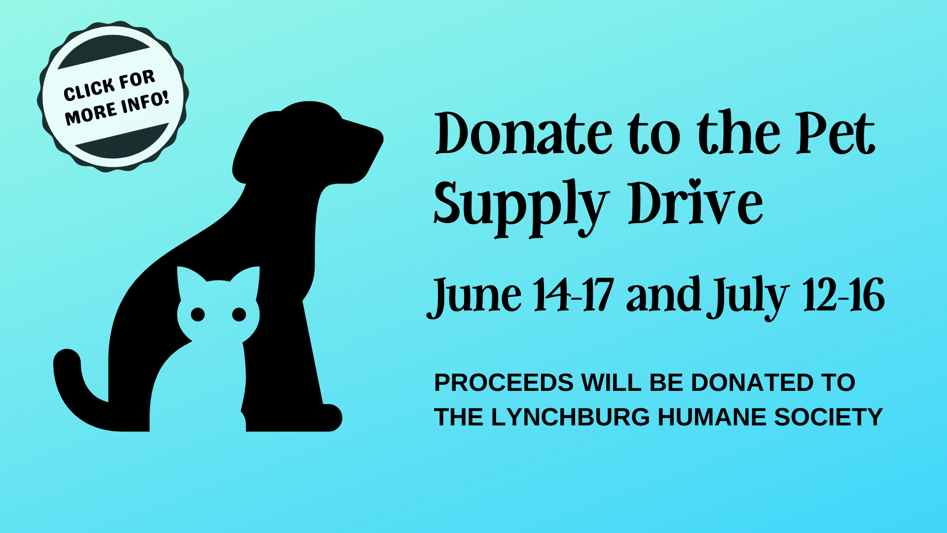 Promotion for a Pet Supply Drive happening at the Lynchburg Public Library June 14th through 17th and July 12th to July 16th. Click on the graphic for more details.